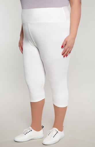 Białe legginsy 3/4 z wysokim stanem