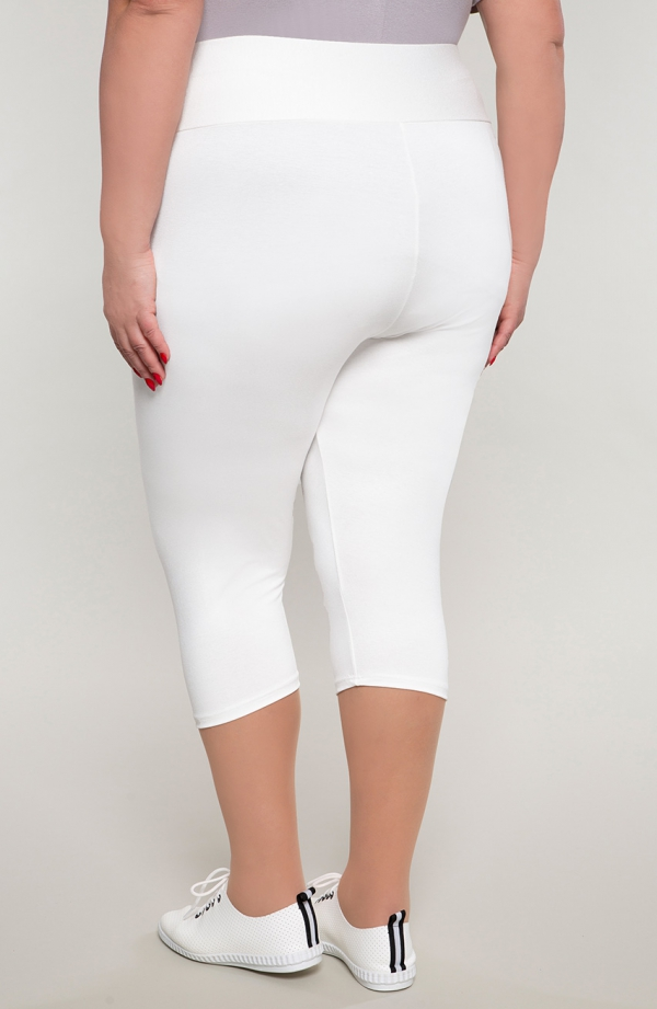 Białe legginsy damskie 3/4 z wysokim stanem