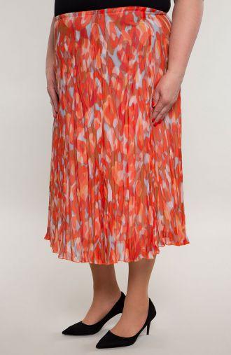 Plisowana lekka spódnica koralowe cętki