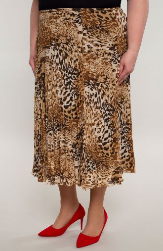 Plisowana lekka spódnica brązowe cętki
