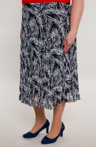 Plisowana lekka spódnica cienie palm