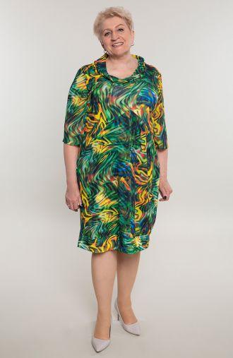 Kolorowa sukienka z ozdobnym dekoltem