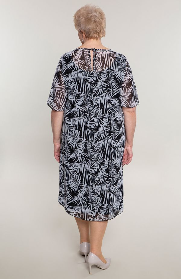 Szyfonowa sukienka cienie palm