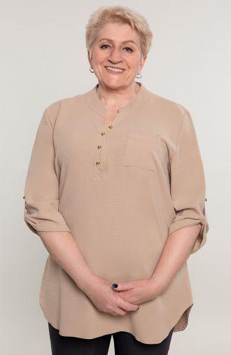 Beżowa bluzka koszulowa z guziczkami