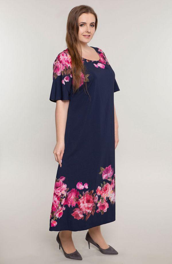 Długa sukienka malowane kwiaty