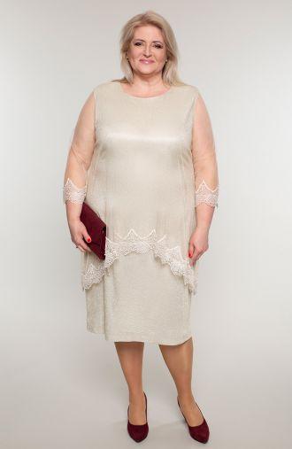 Złota weselna sukienka z narzutką