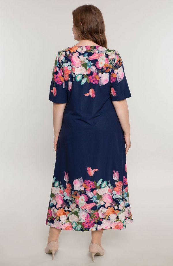 Długa sukienka kwiatowy kolaż