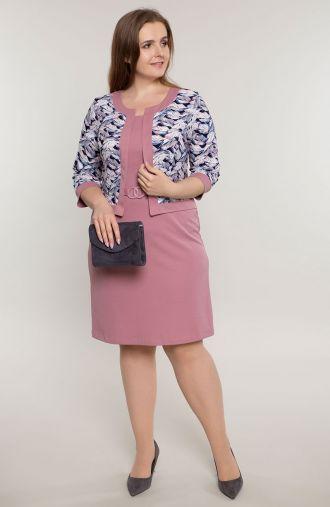Sukienka z imitacją żakietu różowe piórka