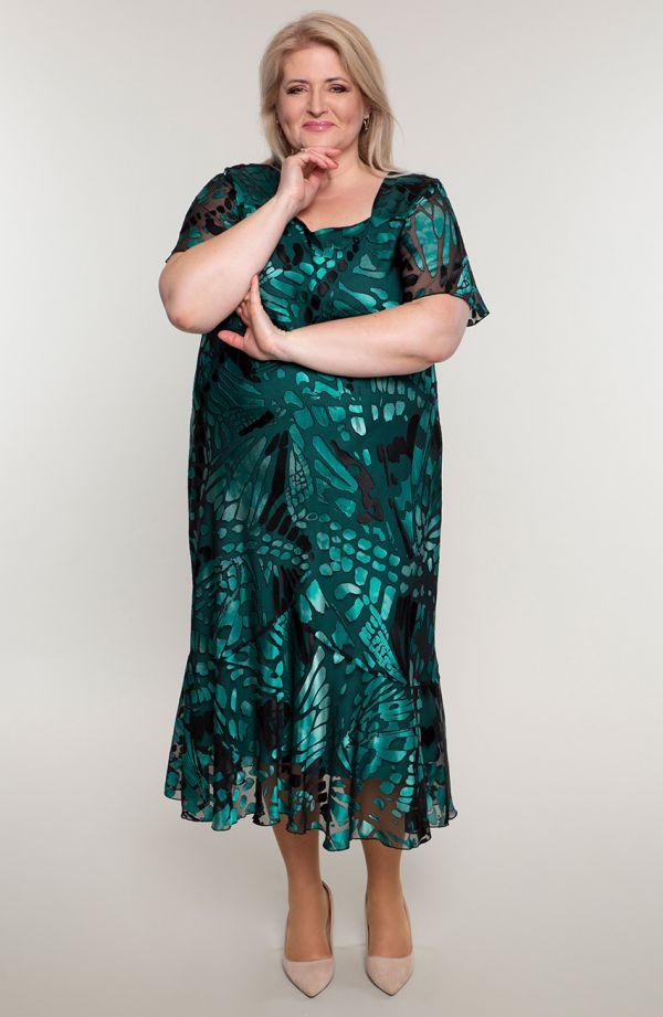 Szmaragdowa garsonka z szyfonową sukienką