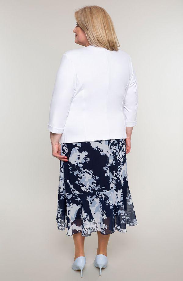 Granatowa garsonka z szyfonową sukienką