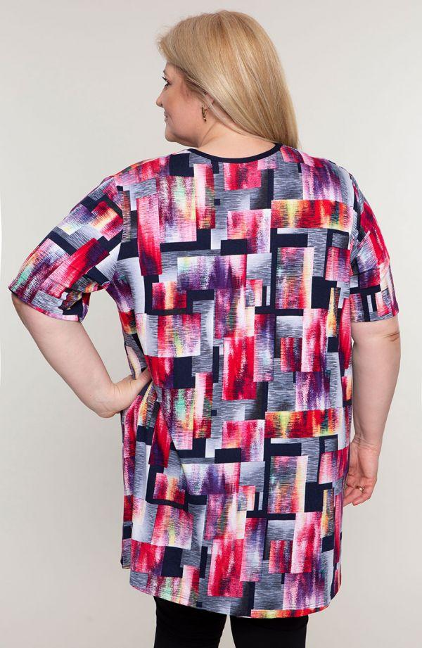 Tuniki damskie - barwna tunika kolorowa geometria
