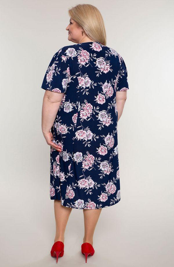 Rozkloszowana sukienka róże edenu