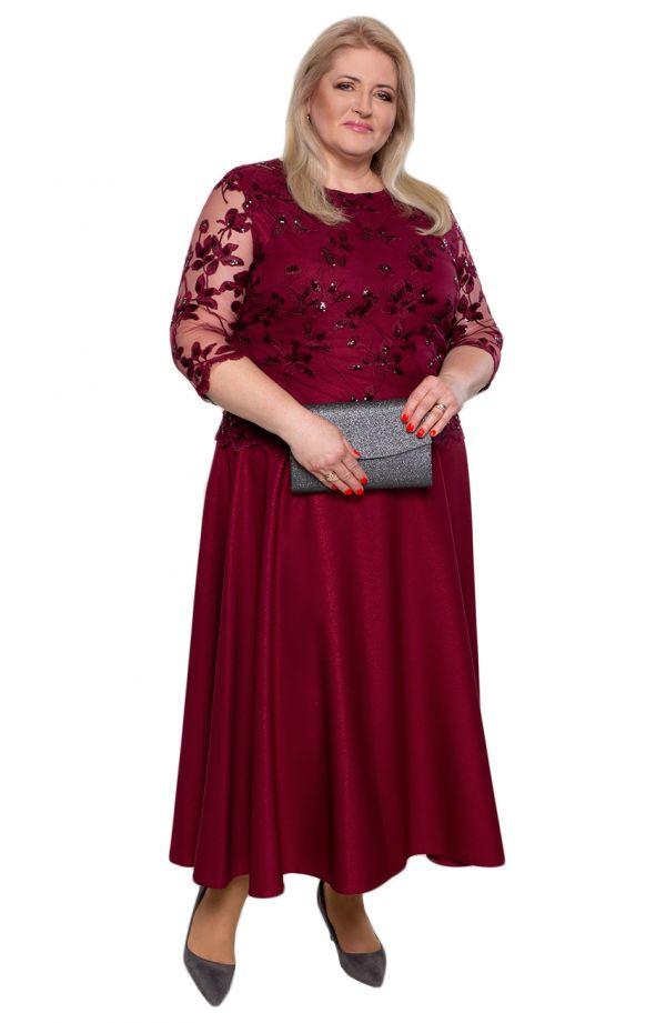 Bordowa suknia z koronkową bluzeczką
