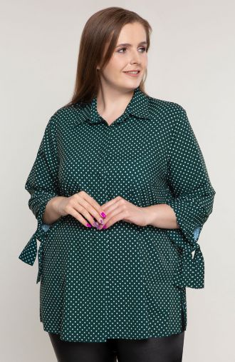 "Zielony elegancka koszula w groszki -<span data-sheets-value=""{&quot;1&quot;:2,&quot;2&quot;:&quot;moda plus size&quot;}"" data-"