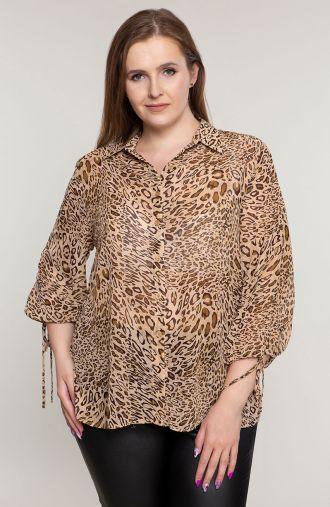 """Szyfonowa koszula w beżowe cętki -<span data-sheets-value=""""{&quot;1&quot;:2,&quot;2&quot;:&quot;moda plus size&quot;}"""" data-she"""