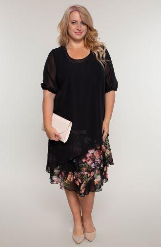Granatowa sukienka z kwiatową falbanką