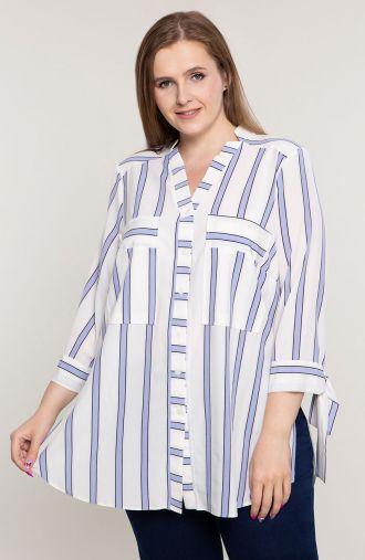Długa koszula w błękitne i białe pasy - moda xxl
