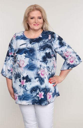 Niebieska bluzka w kwiaty lotosu