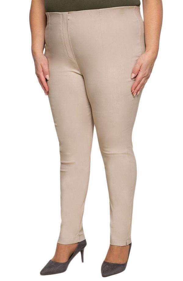 Beżowe zwężane spodnie cygaretkiplus size dla puszystych z bengaliny