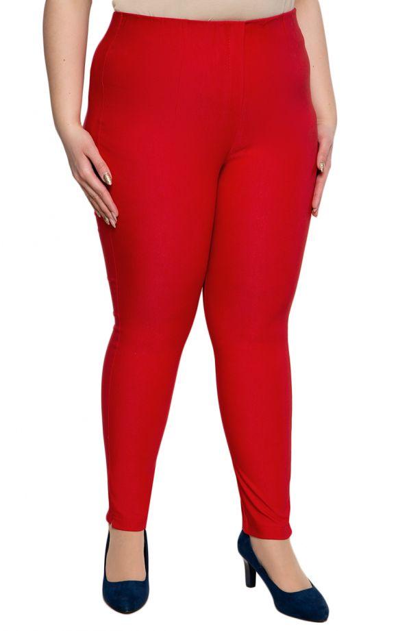 Czerwone zwężane spodnie cygaretki plus size dla puszystych z bengaliny