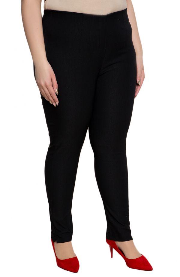 Czarne zwężane spodnie cygaretki plus size dla puszystych z bengaliny