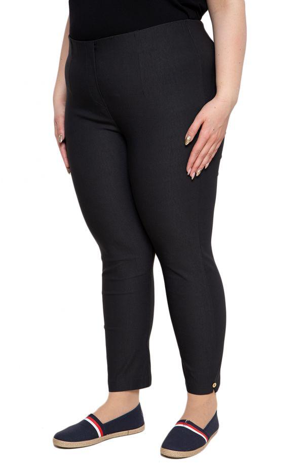 Grafitowe spodnie plus size dla puszystych 7/8 z wysokim stanem