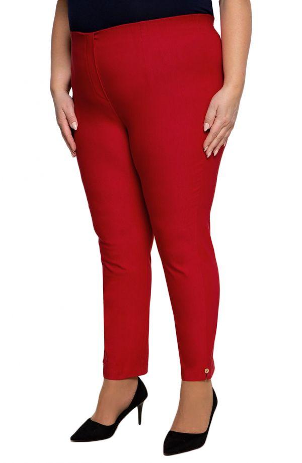Czerwone spodnie 7/8 plus size dla puszystych z wysokim stanem