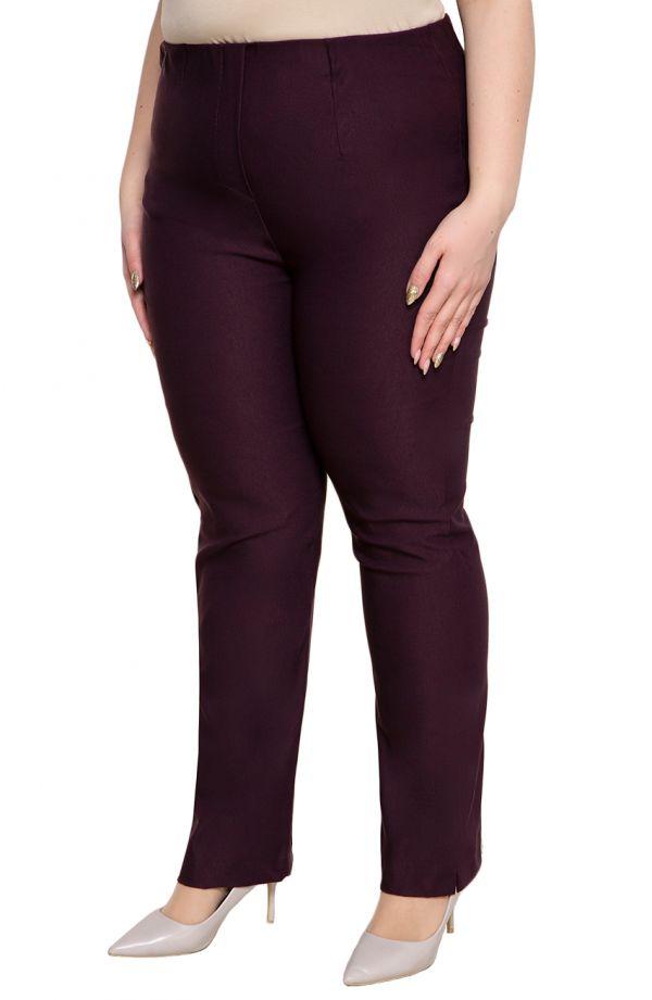 Dłuższe proste spodnieplus size dla puszystych w kolorze bakłażanu
