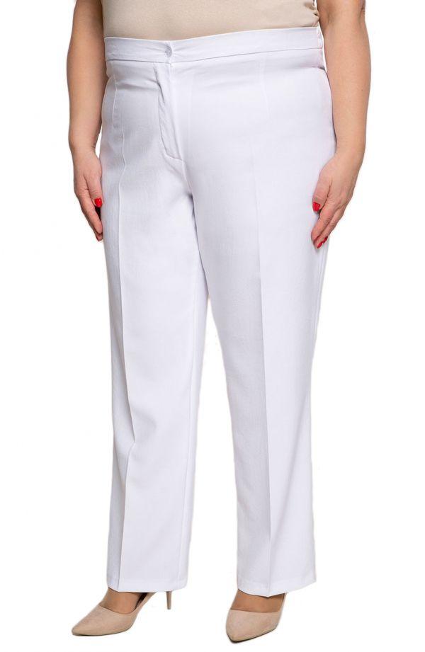 Lniane spodnie plus size dla puszystych w kant w białym kolorze