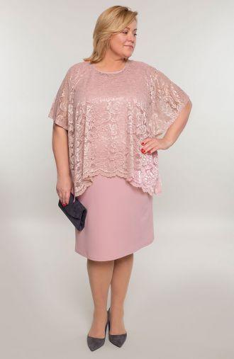 Pudrowa sukienka z koronkową bluzeczką