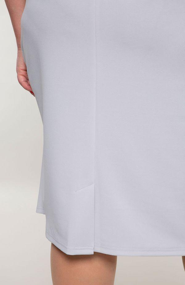 Gołębia sukienka z koronkową bluzeczką