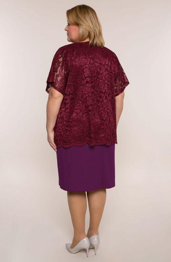Purpurowa sukienka z koronkową bluzeczką