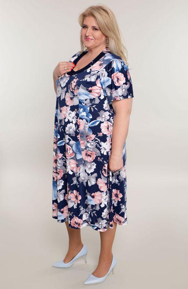 Rozkloszowana sukienka pudrowe kwiaty