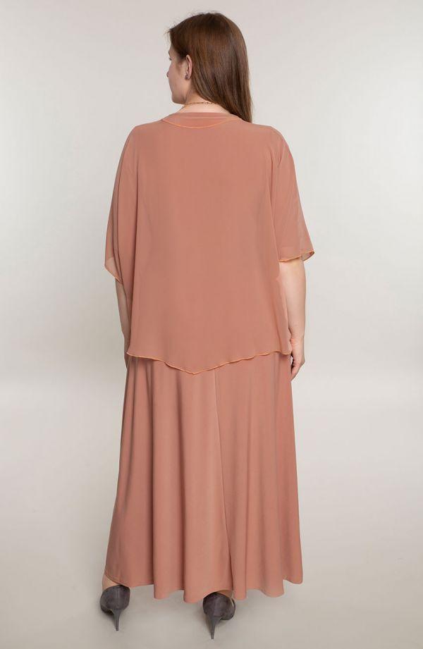 Długa karmelowa sukienka z mantylką