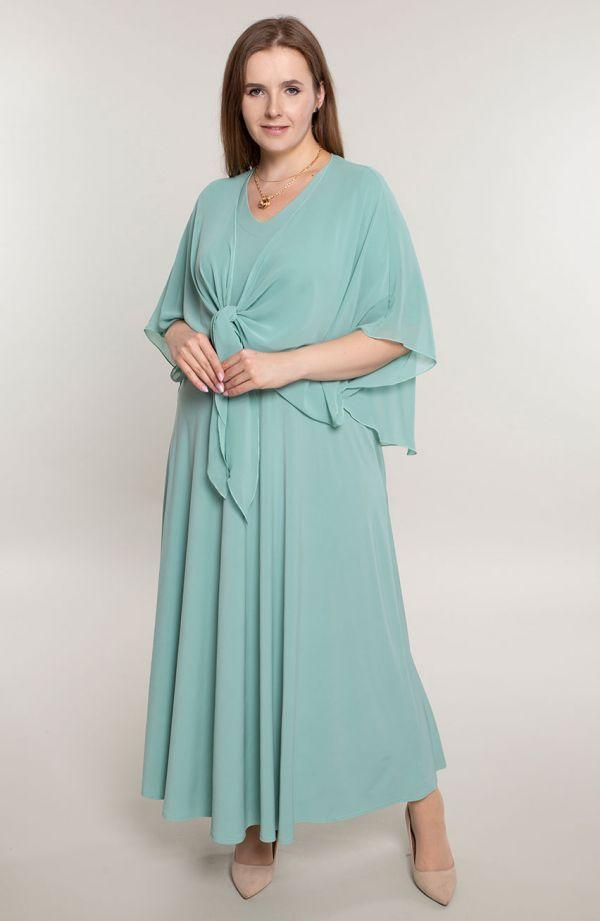 Długa pistacjowa sukienka z mantylką