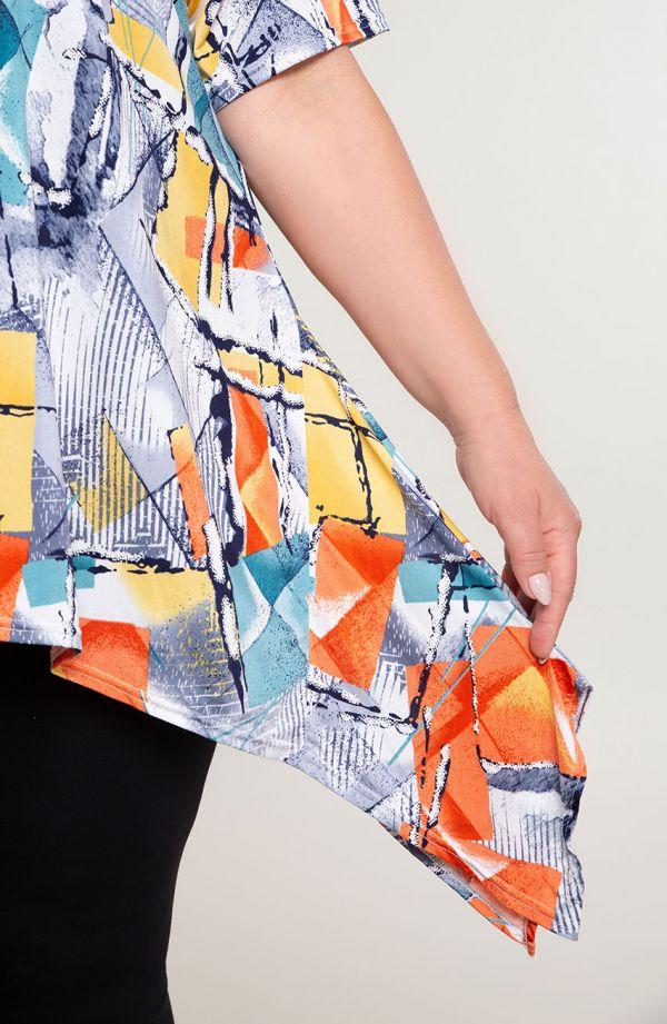 Długa bokami tunika abstrakcyjna geometria