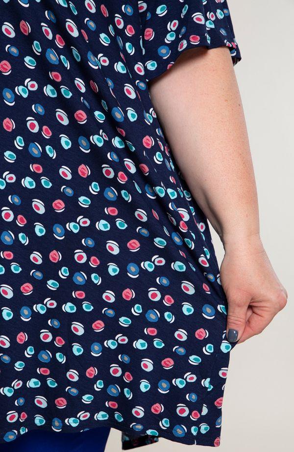 Tuniki damskie - asymetryczna tunika w barwne kropki