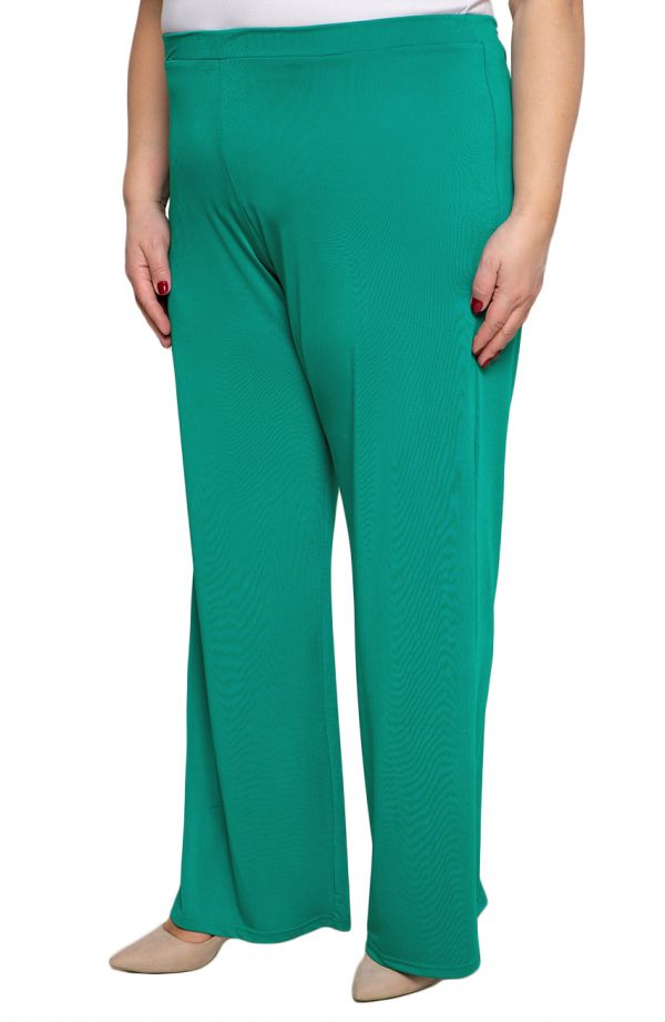 Wizytowe spodnie plus sizew kolorze zielonego turkusu
