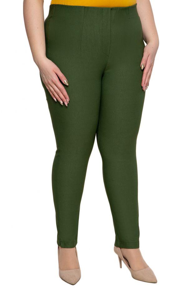 Oliwkowe spodnie plus size dla puszystych cygaretki z bengaliny