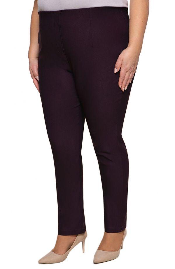 Bakłażanowe spodnie cygaretki plus size dla puszystych z bengaliny
