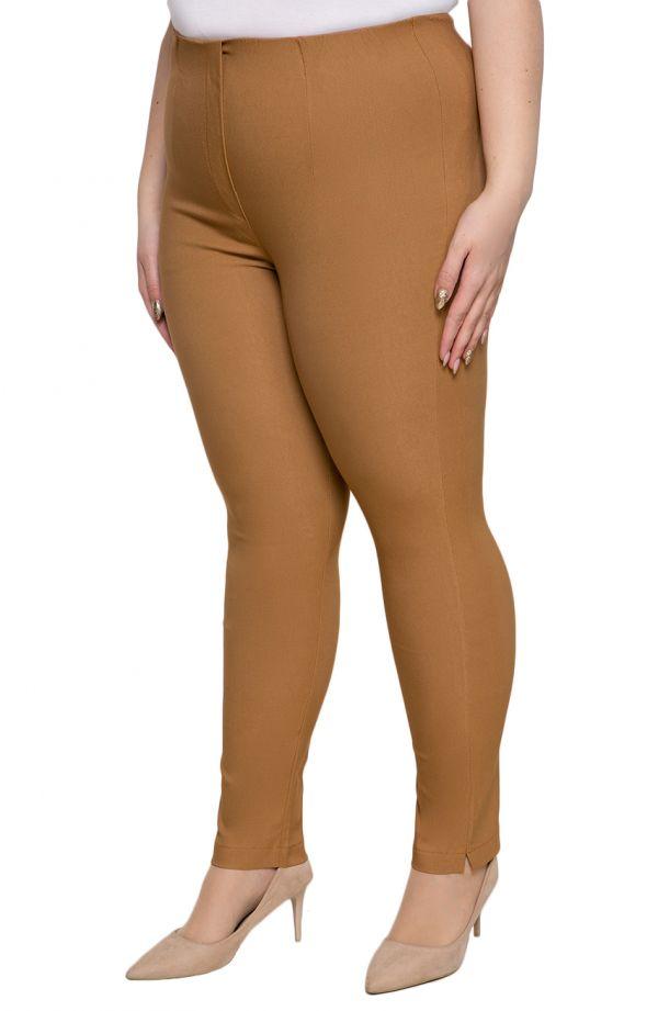 Karmelowe spodnie plus sizecygaretki z bengaliny