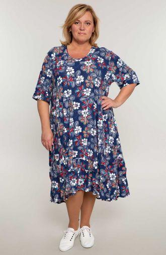 Długa sukienka z falbaną w listkowe rozetki