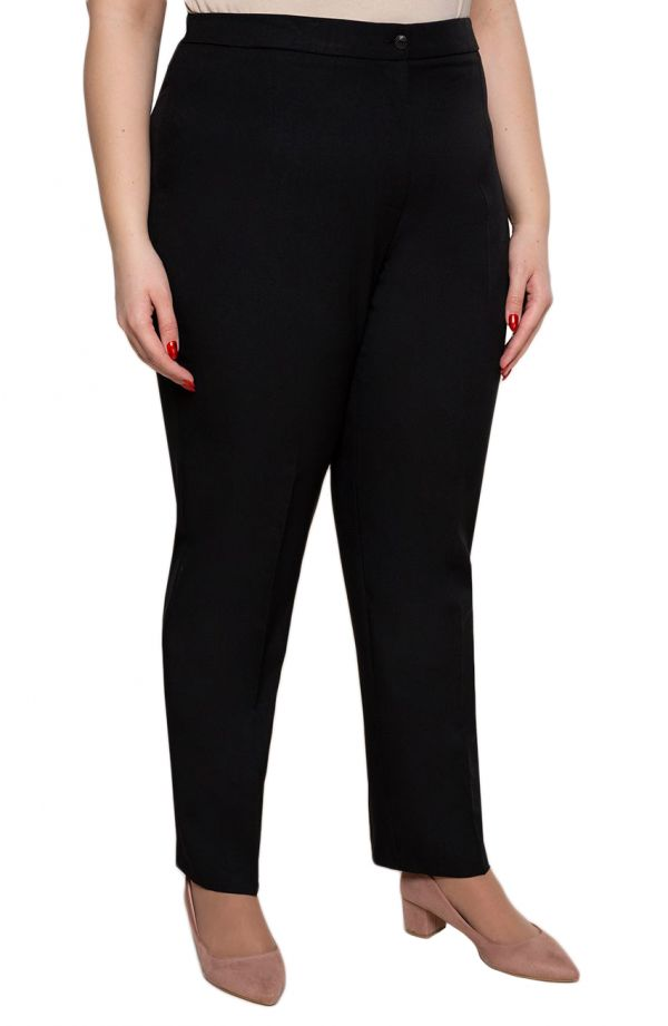 Lniane spodnie damskieplus size w kant w czarnym kolorze