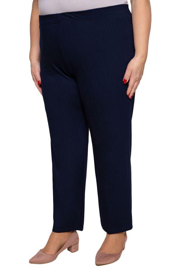 Klasyczne cienkie granatowe spodnieplus size dla puszystych