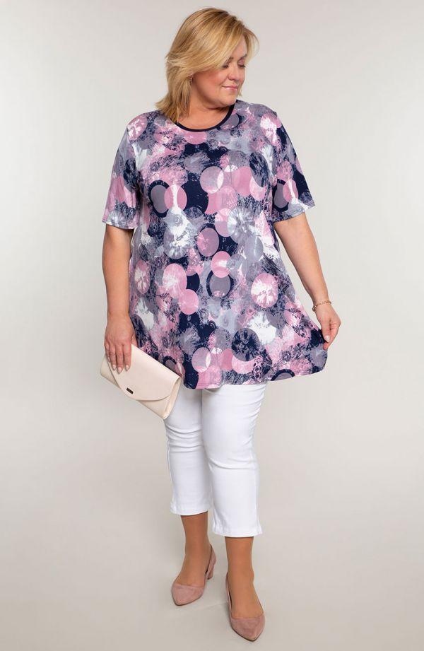 Barwna tunika różowe kółka