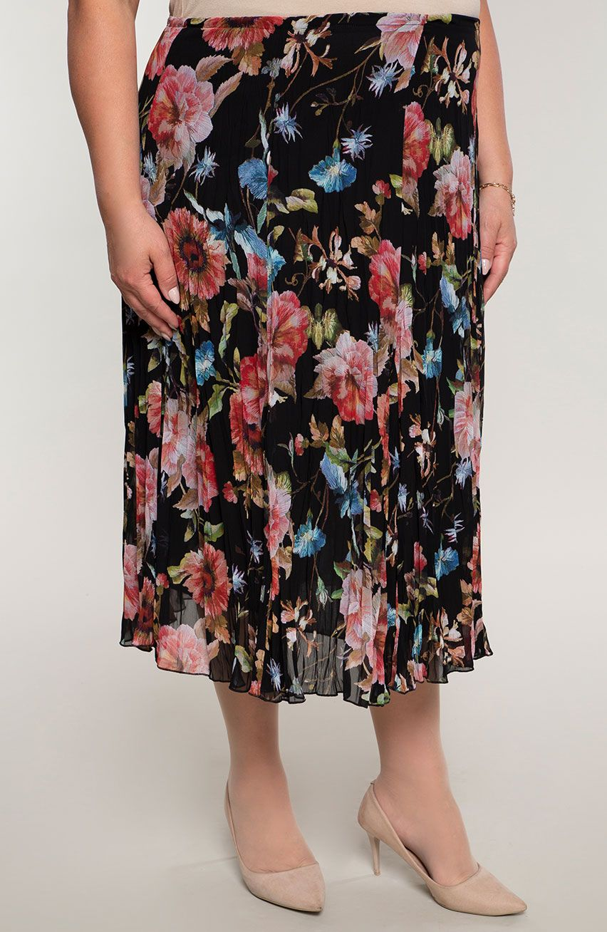 Plisowana lekka spódnica haftowane kwiaty