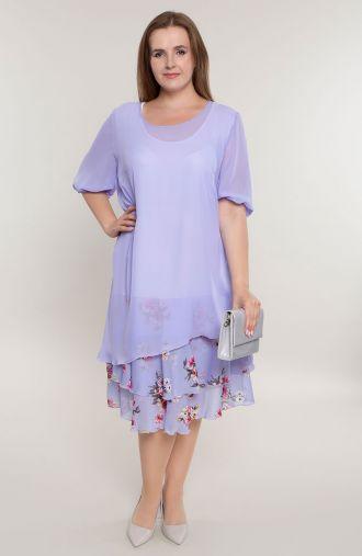 Liliowa sukienka z kwiatową falbanką
