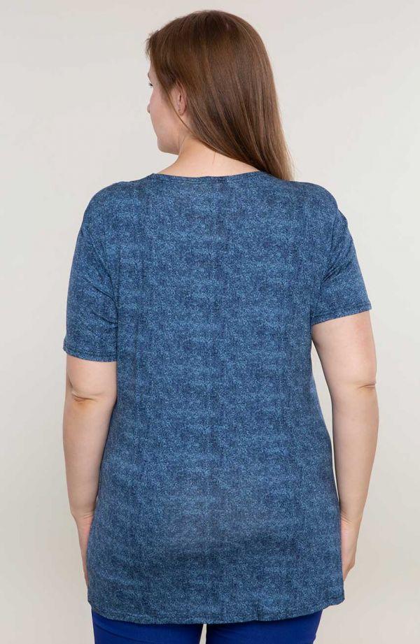 Niebieska tunika z miedzianym suwakiem -tuniki dla puszystych