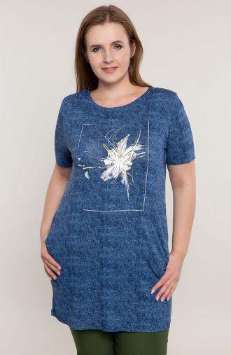 Niebieska tunika srebrne kwiaty w ramce