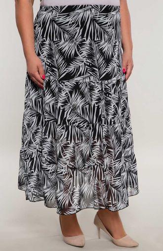 Długa falbaniasta spódnica liście paproci